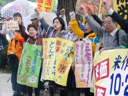 トラクターも参加し「米価暴落とんでもない!米作り守れ 主食を守れ」国会パレード